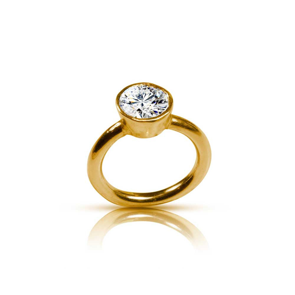 22K Tapered Bezel Diamond Engagement Ring - Nancy Troske Jewelry