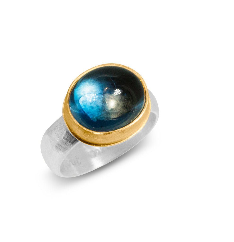 Nancy Troske Jewelry - Blue Topaz, 22K Gold and Silver Ring