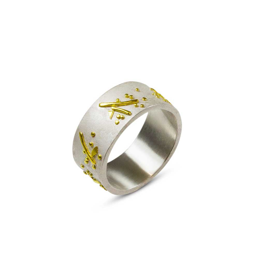 Branching Out - 22k and Silver Wedding Ring - Nancy Troske Jewelry