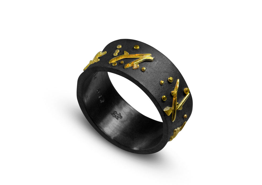 Nancy Troske Jewelry - Granulated Silver and Gold Band