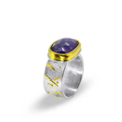 Tanzanite Ring with Gold Branches on Silver