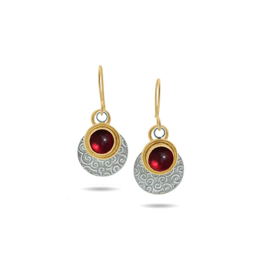Nancy Troske Jewelry - Ruby, 22K, Silver Earrings