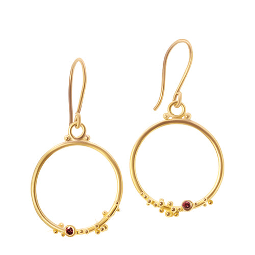 22K and red diamond granulated earrings - Nancy Troske Jewelry