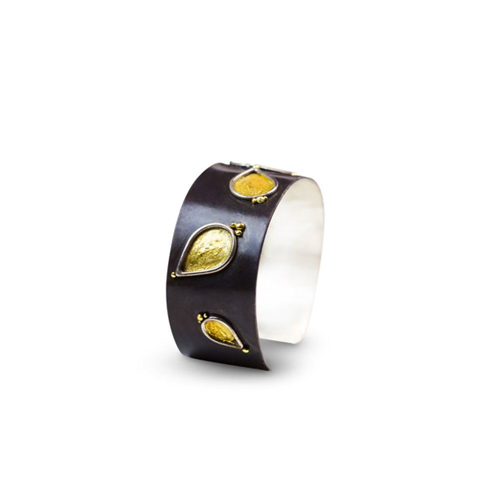 34c28f90fdb Home Products Burning Leaves Cuff Bracelet in 24K and Black Silver. Nancy  Troske Jewelry - Cuff Bracelet with Gold Leaves ...