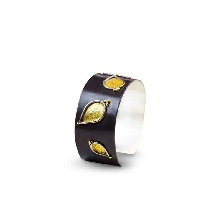 Nancy Troske Jewelry - Cuff Bracelet with Gold Leaves