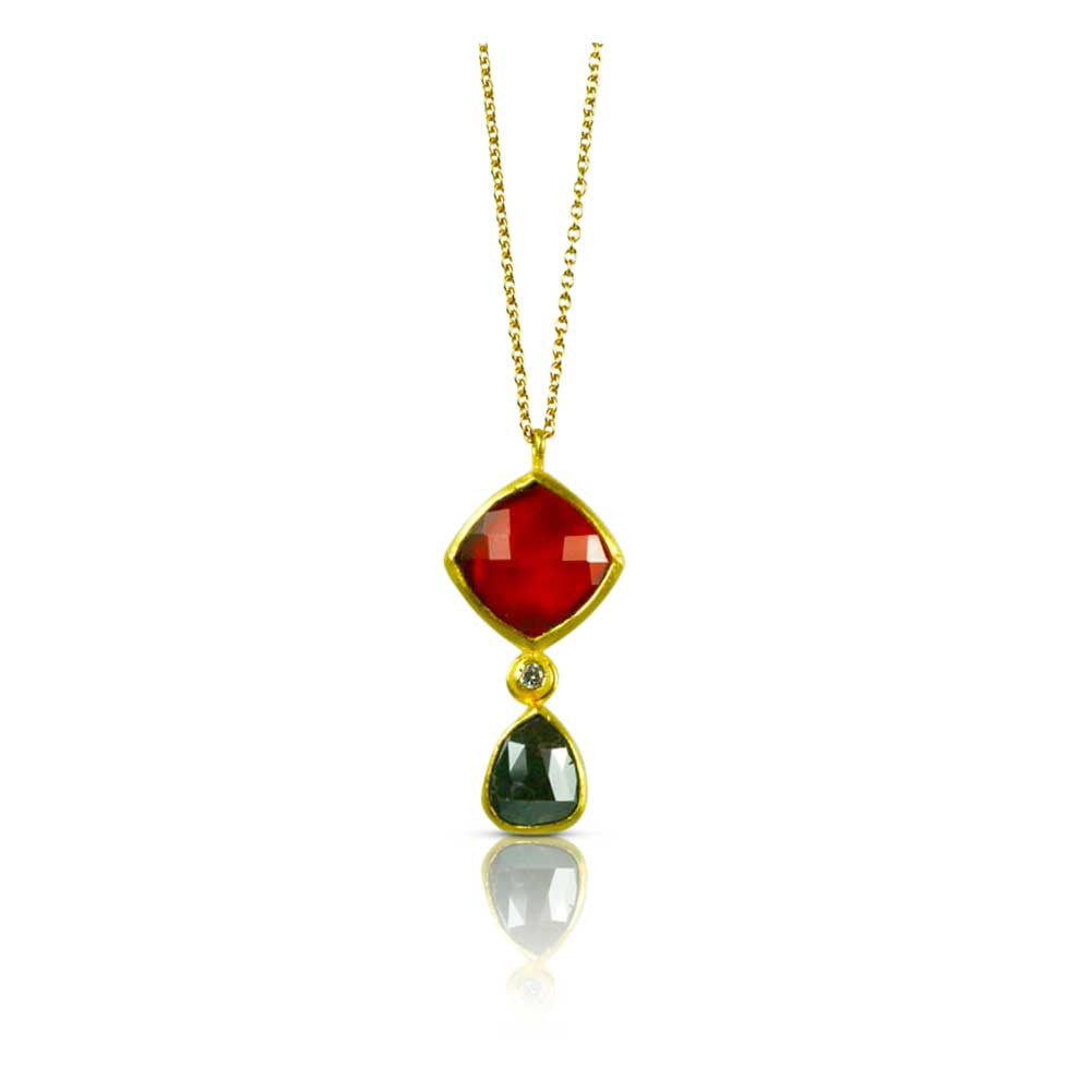 Carnelian & Raw Diamond Pendant - Nancy Troske Jewelry