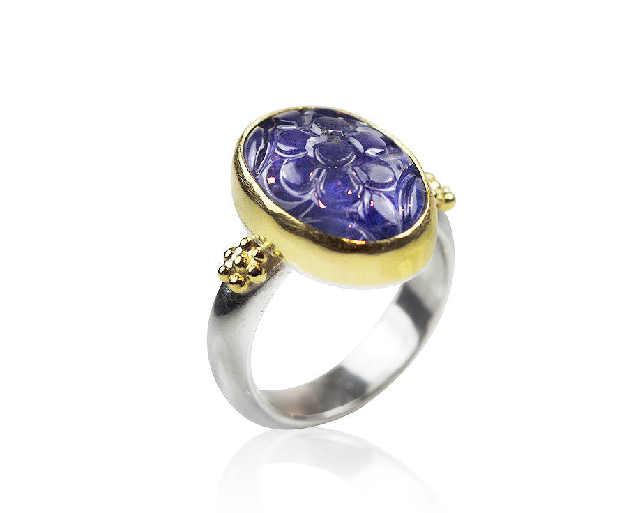 Carved Tanzanite Ring Nancy Troske Jewelry