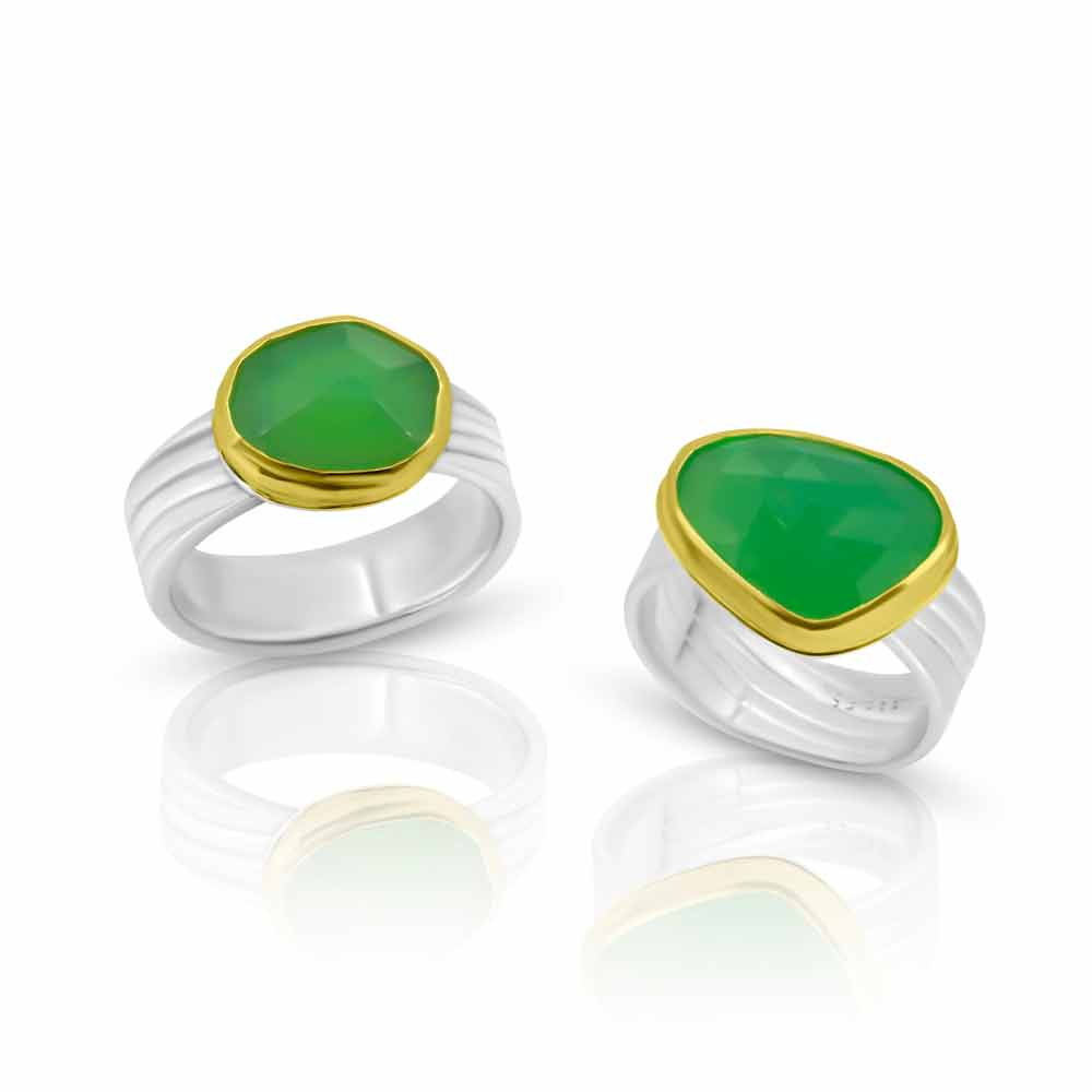 Chrysoprase Ring in 22K gold and pure hand rolled silver
