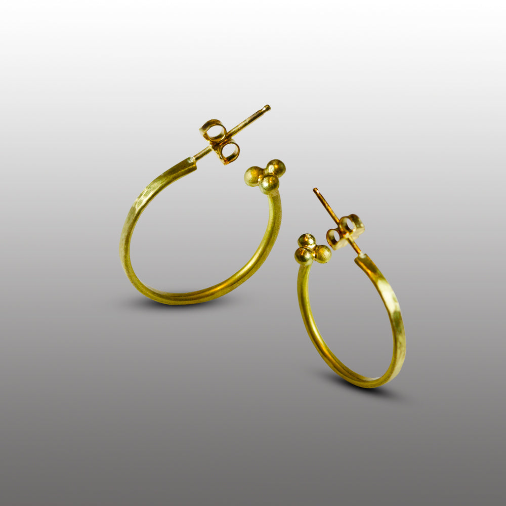 Hammered 22 Karat Gold Hoops - Nancy Troske Jewelry
