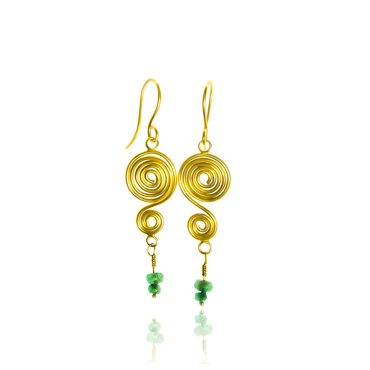 Anuket Egyptian Spiral 22K & Emerald Earrings - Nancy Troske Jewelry