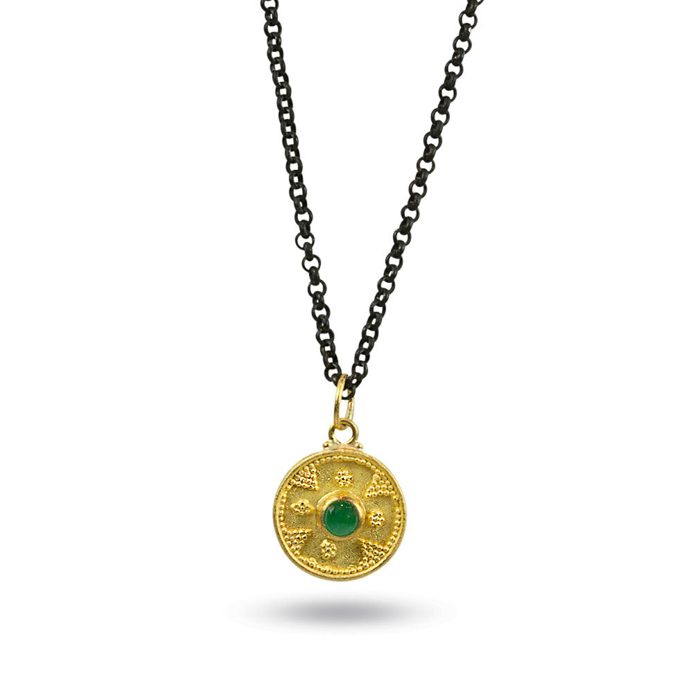 Nancy Troske Jewelry - Granulated 22k Gold Disk on Black Chain