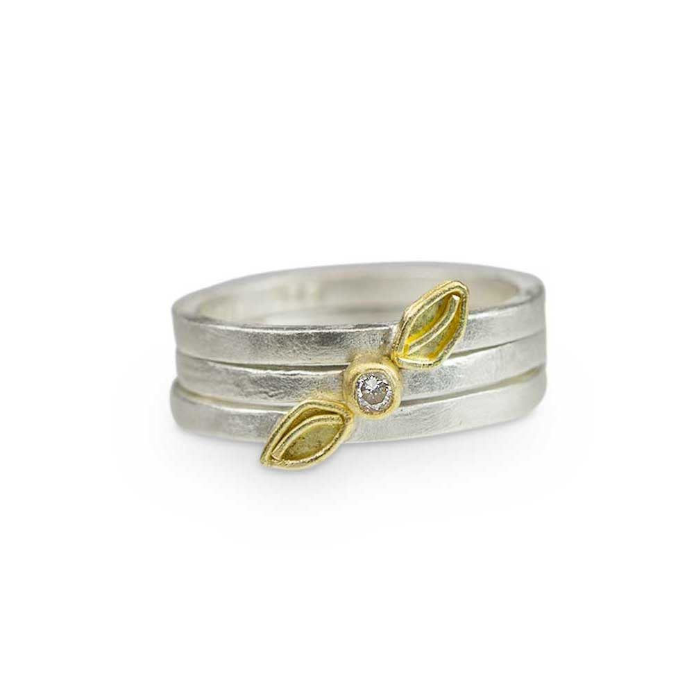 Falling Leaf Stacking Rings - Nancy Troske Jewelry