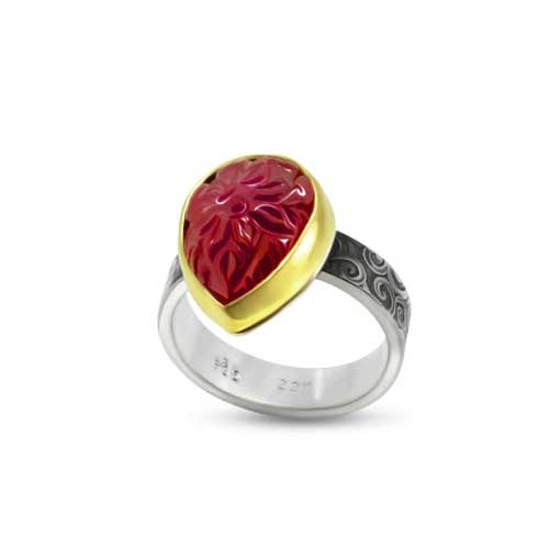 Carved Ruby Ring with Vine
