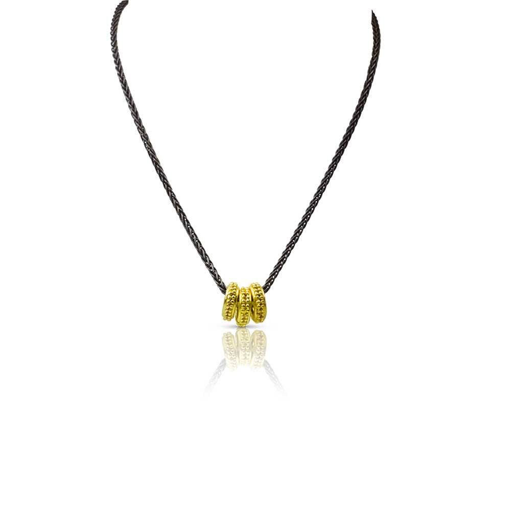 Granulated 22k Gold Circle Necklace - Nancy Troske Jewelry