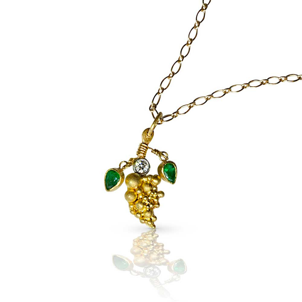 Granulated Gold Grapes with Emerald Leaves - Nancy Troske Jewelry