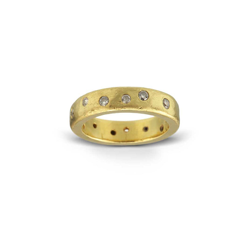 Hammered 22k Gold and Diamond Wedding Ring - Nancy Troske Jewelry