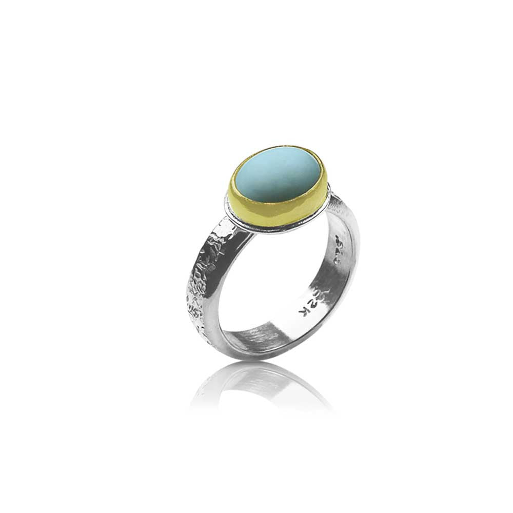 Oval Turquoise Ring on Textured Band - Nancy Troske Jewelry