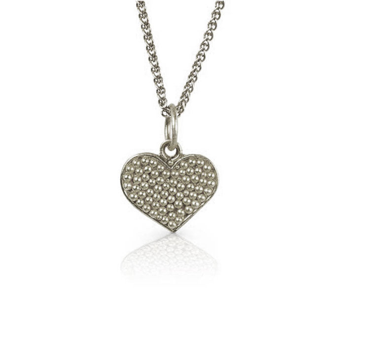 Nancy Troske Jewelry - Silver Granulated Heart Necklace