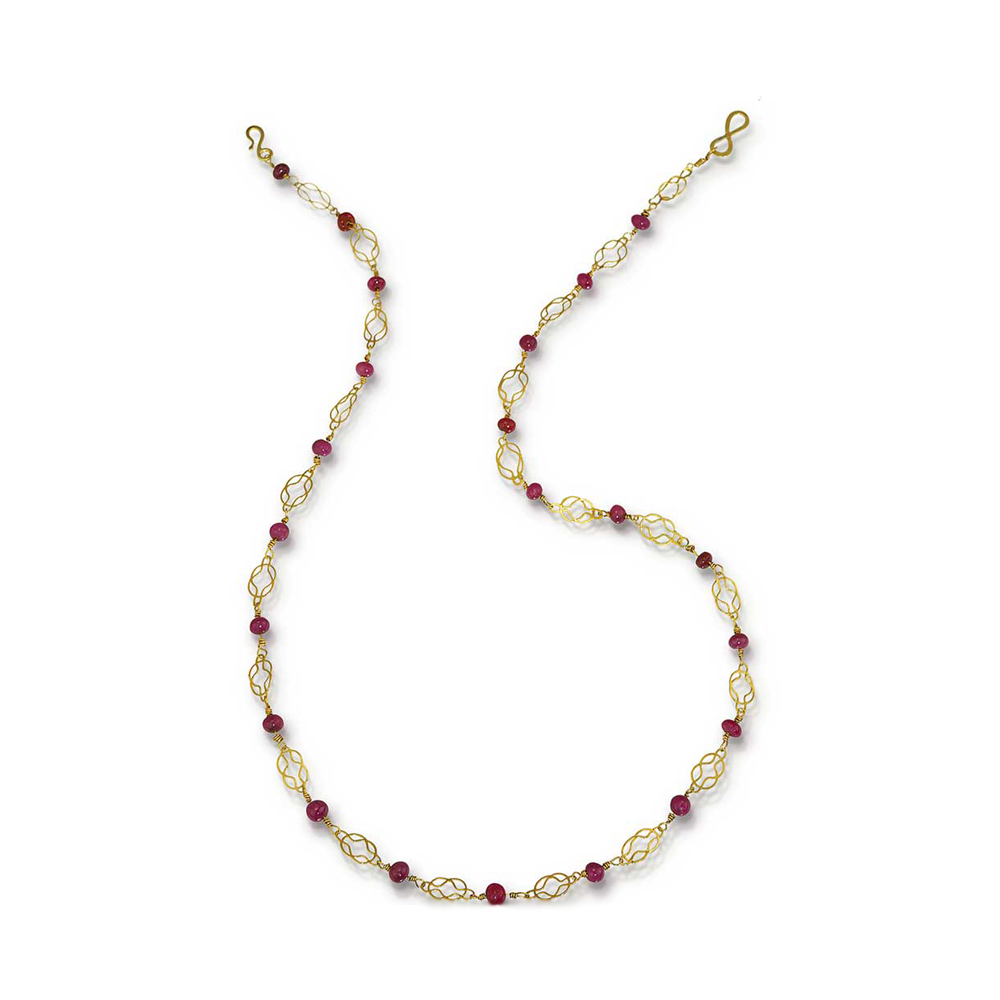 22k Gold and Ruby Herakles Knot Necklace - Nancy Troske Jewelry