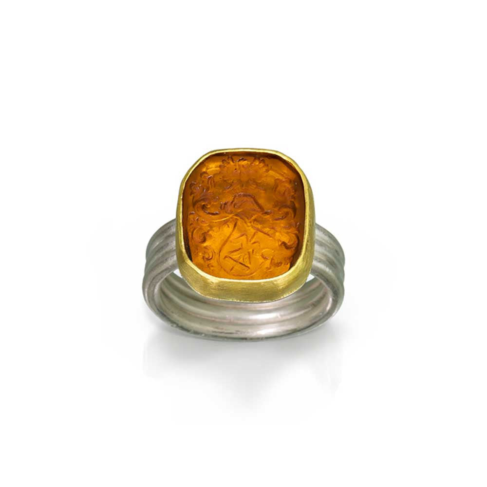 Heraldry Venetian Glass Intaglio Ring - Nancy Troske Jewelry