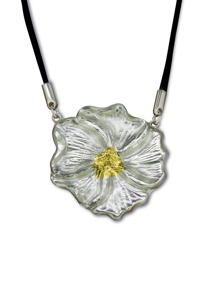 Hibiscus I Necklace on Silk Cord - Nancy Troske Jewelry
