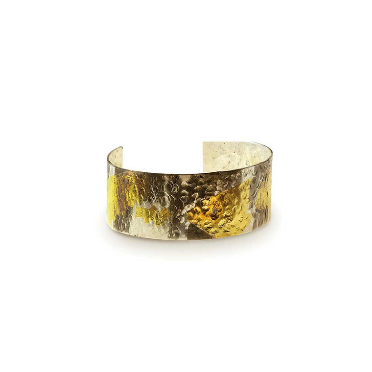 Nancy Troske Jewelry - 24K Gold and Silver Ring, black silver and fused gold hammered cuff