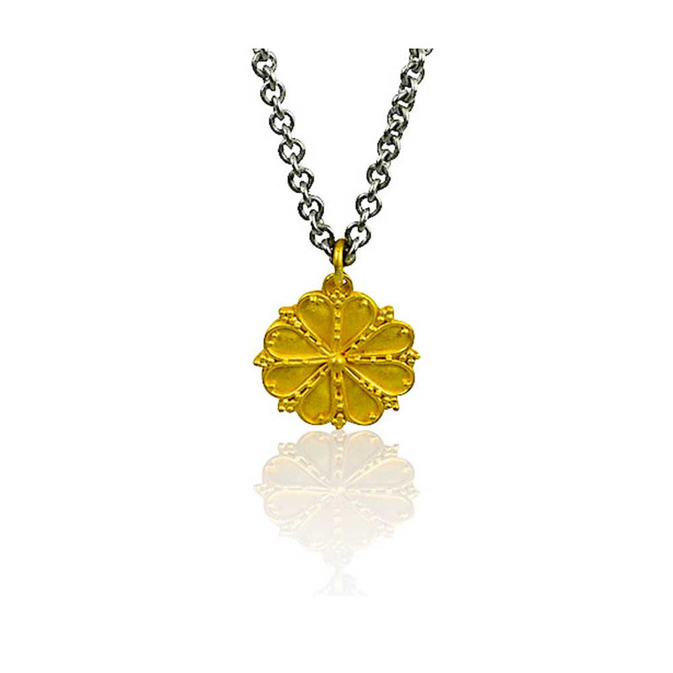 22k Granulated Greek Rosette Necklace - Nancy Troske Jewelry