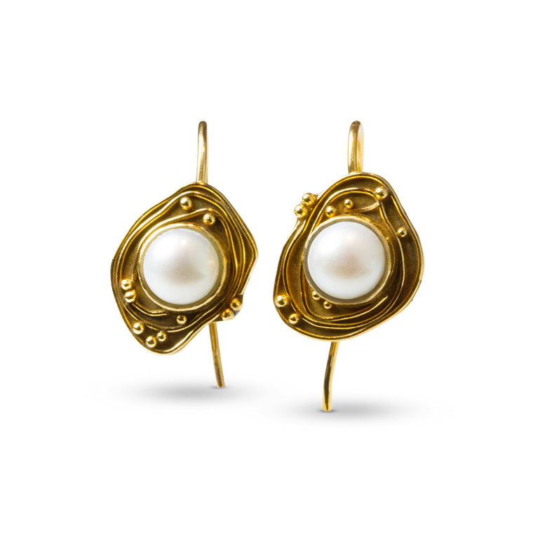 Mabe Pearl Swirl Earrings - Nancy Troske Jewelry