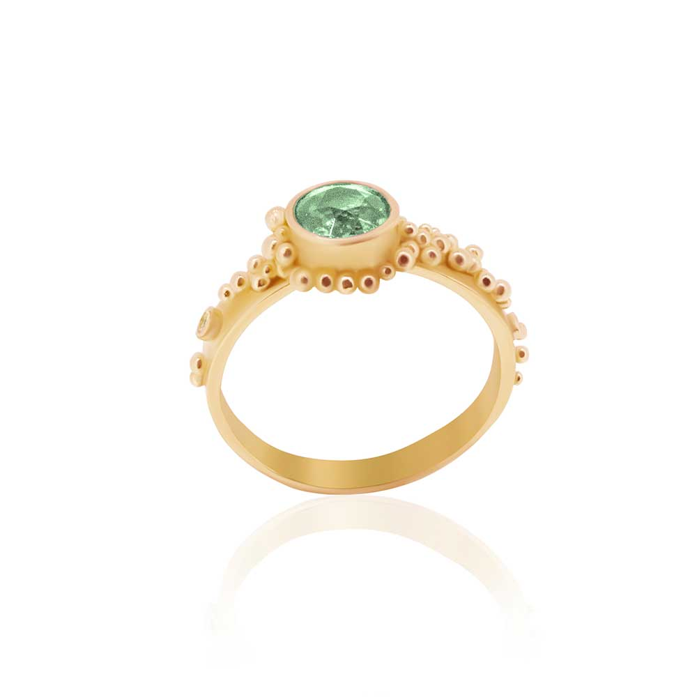 22K, Mint Green Tourmaline and Diamond Granulated Ring - Nancy Troske Jewelry