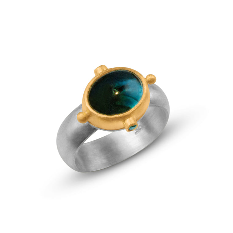 Moonshadow Ring - blue topaz - Nancy Troske Jewelry