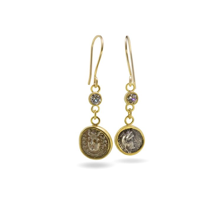 Ancient Obol Earrings 22K and Diamond - Nancy Troske Jewelry