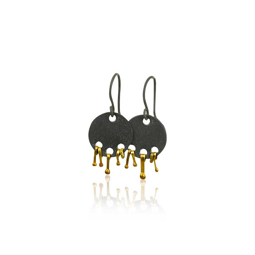 22k gold and oxidized silver earrings