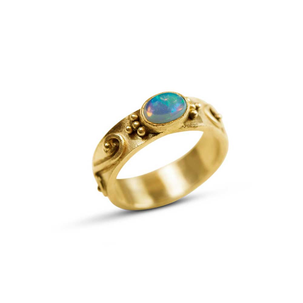 Ethiopian Opal Wedding Ring - Nancy Troske Jewelry
