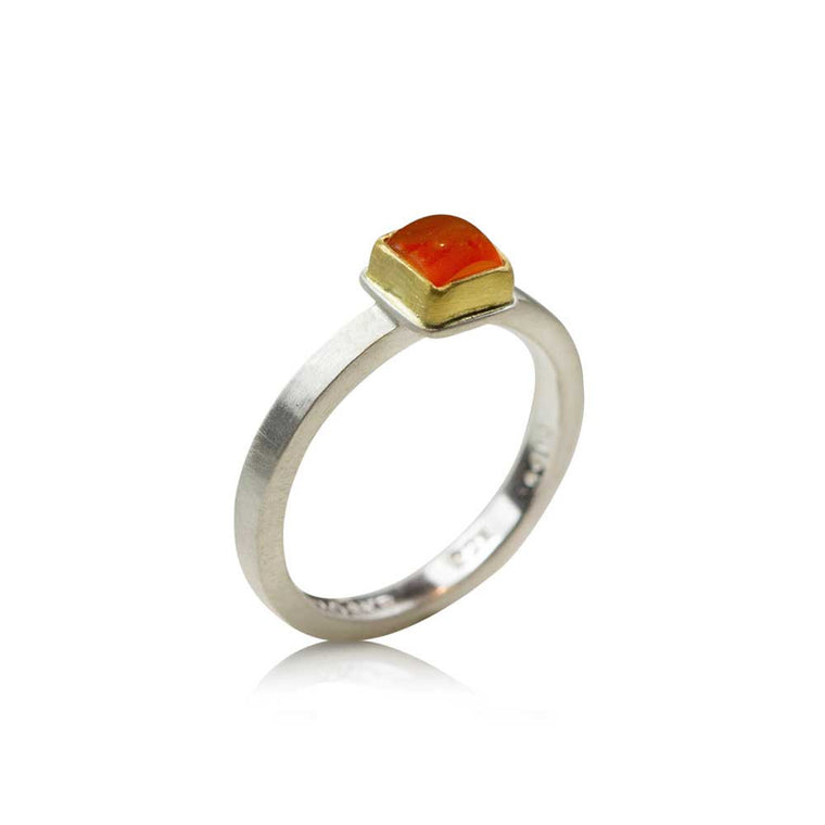 Square Cut Carnelian Ring - Nancy Troske Jewelry