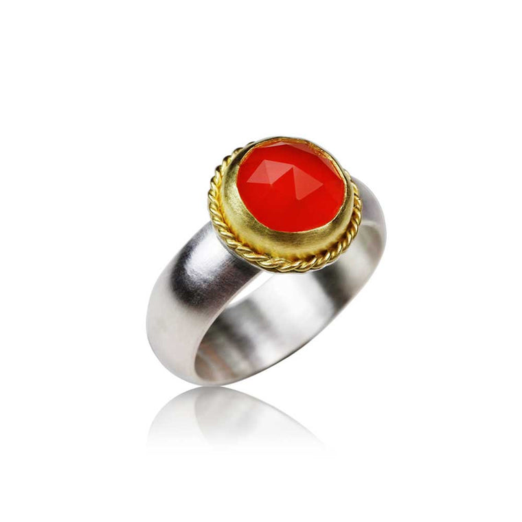 Rose Cut Carnelian Ring with 22k Gold Twisted Wire - Nancy Troske Jewelry