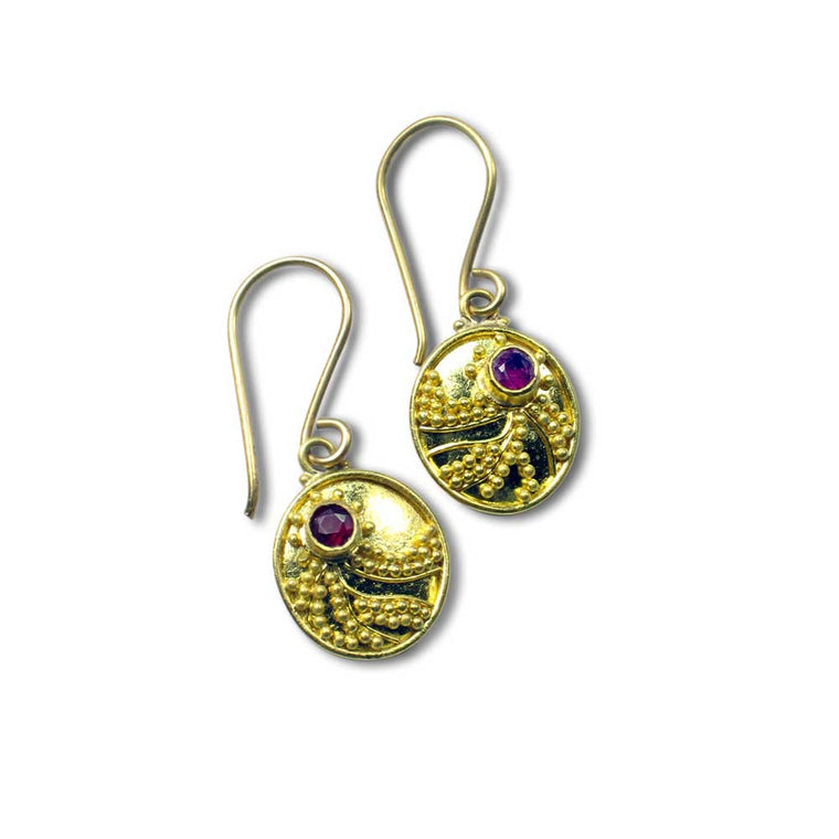 22k Granulated Ruby Earrings - Nancy Troske Jewelry