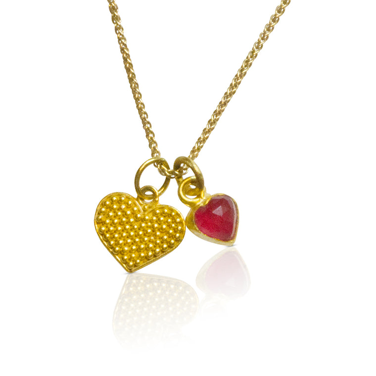 Granulated Heart Necklace - Nancy Troske Jewelry