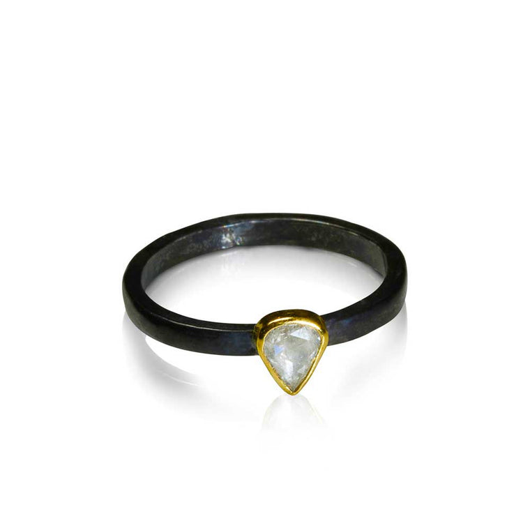 Pear Shape Rose Cut Diamond Stacking Ring
