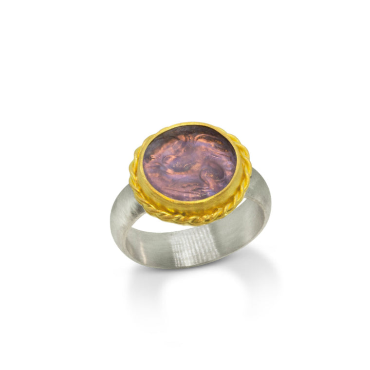 Nancy Troske - Pegasus - Glass Cameo, 22K Gold and Silver Ring