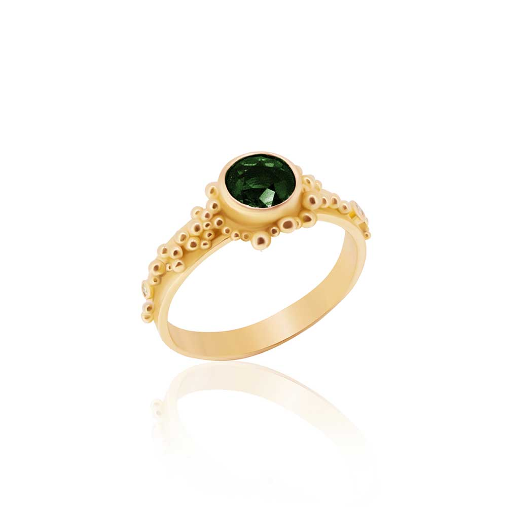 22K, Forest Green Tourmaline and Diamond Granulated Ring - Nancy Troske Jewelry