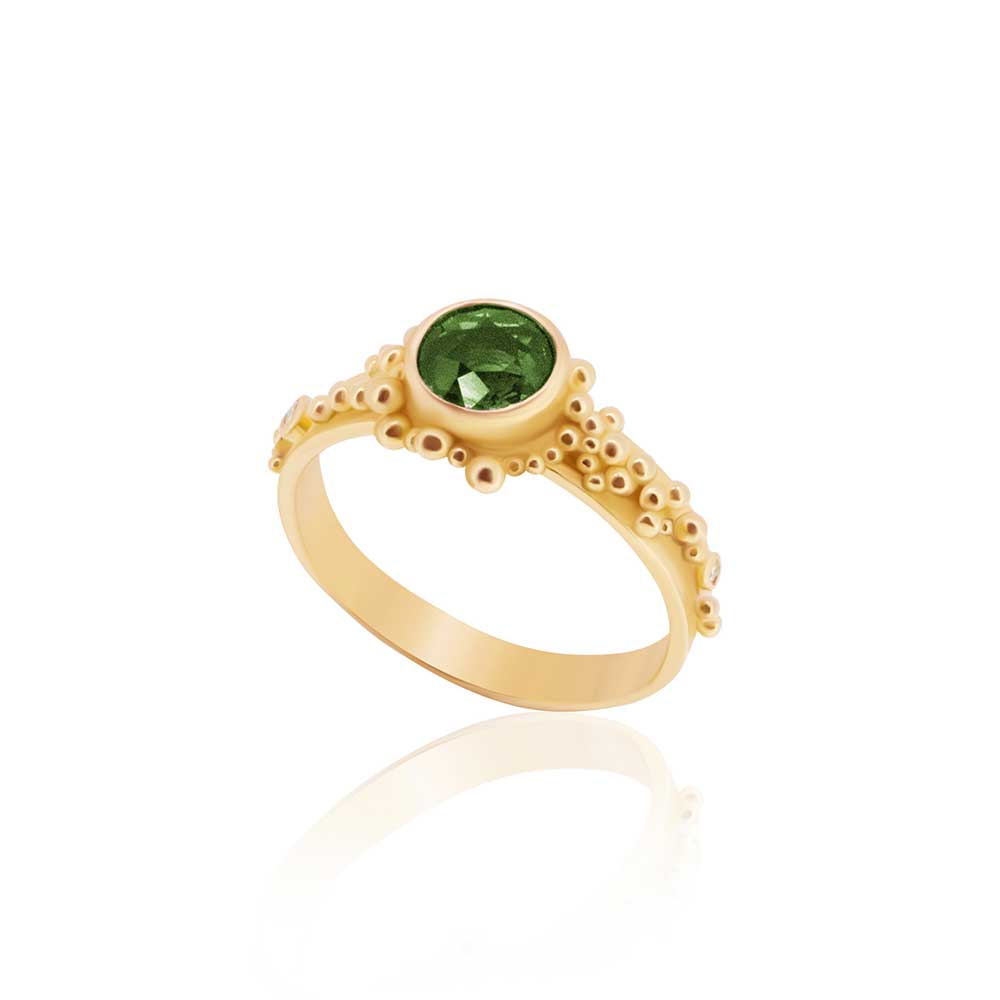 22K, Tree Leaf Green Tourmaline and Diamond Granulated Ring - Nancy Troske Jewelry