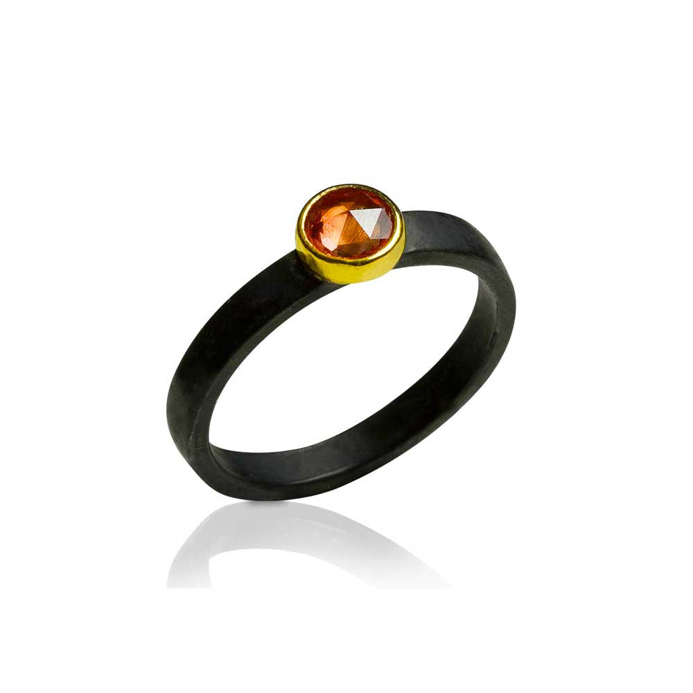 Peachy Red Sapphire Stacking Ring - Nancy Troske Jewelry