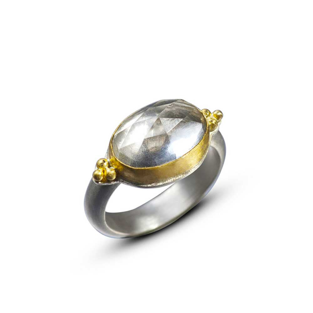 Rose Cut Rock Crystal Ring with Granulation - Nancy Troske Jewelry