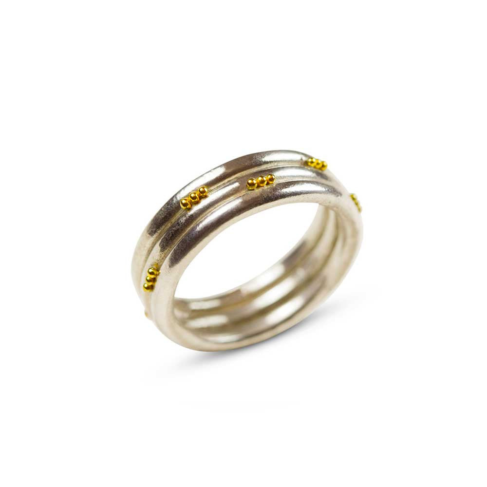 Roll With It - 22K Gold and Silver Wedding Ring - Nancy Troske Jewelry