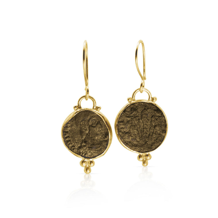 Ancient Roman Coin Earrings in 22K