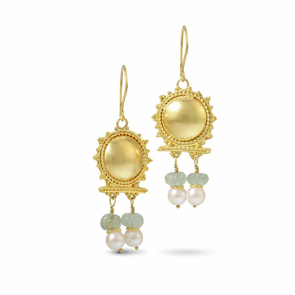 22k Roman Earrings with Aquamarine and Pearls - Nancy Troske Jewelry