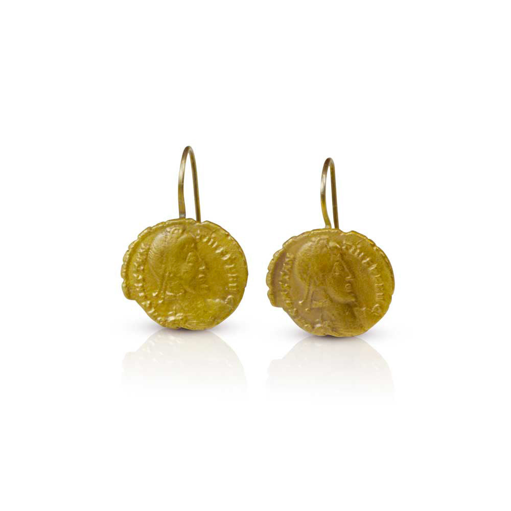 Ancient Coin Earrings in 22k Gold