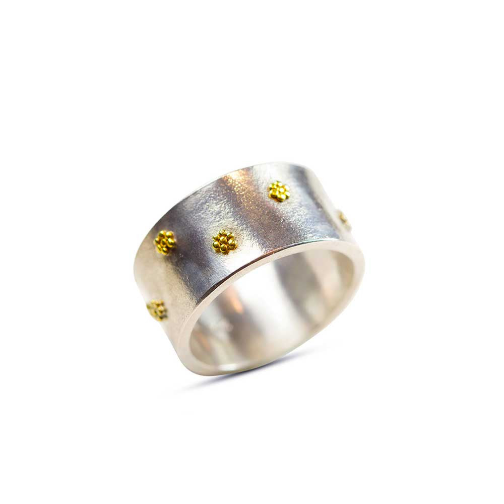 Rooftop Garden  - 22k and Silver Wedding Ring - Nancy Troske Jewelry