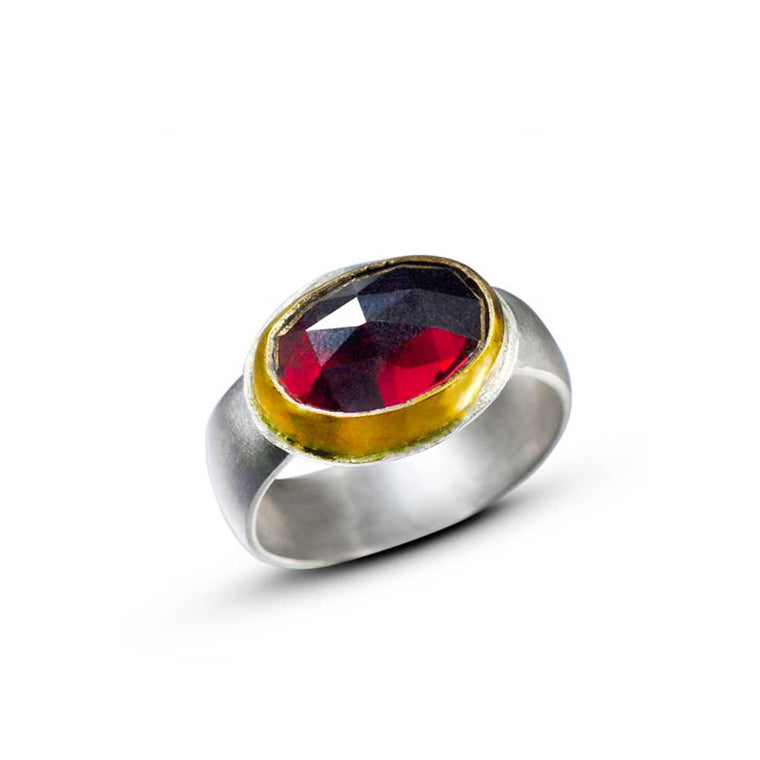 Rose Cut Garnet Ring - Nancy Troske Jewelry