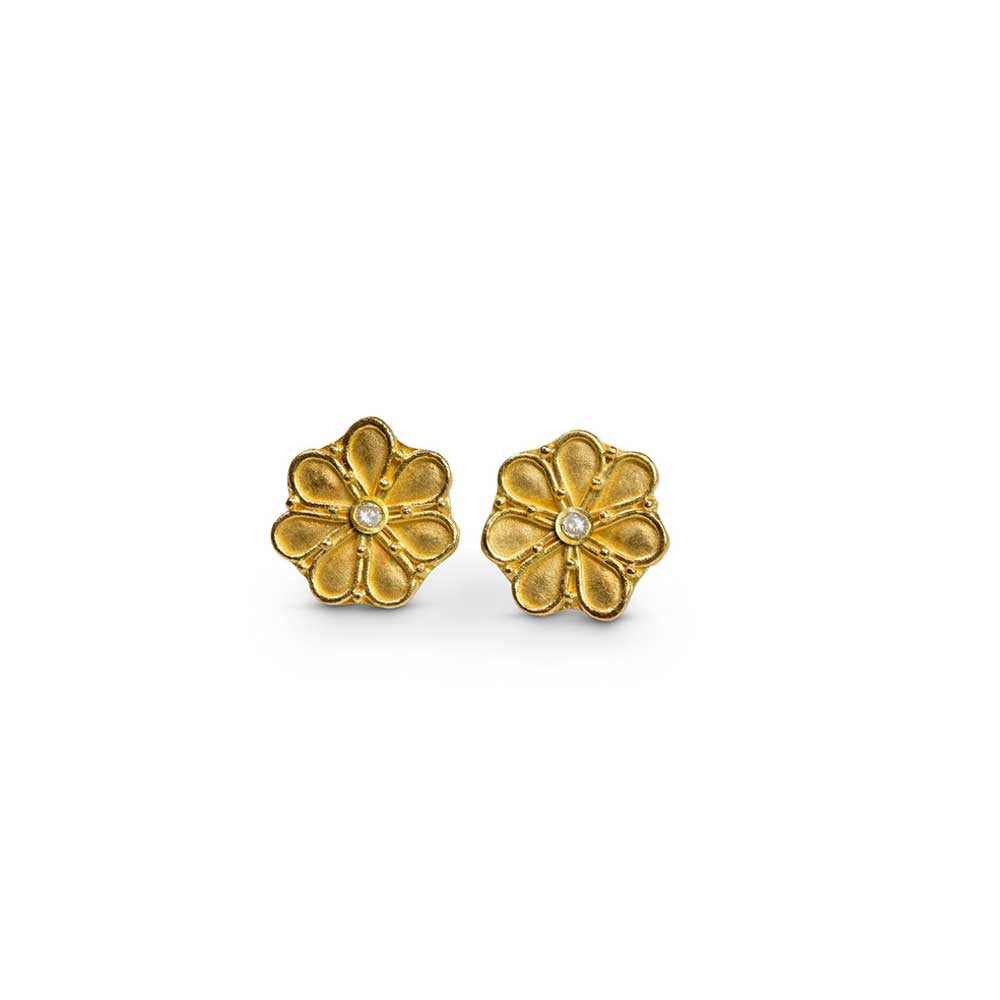 22k Granulated Greek Rosette Earrings - Nancy Troske Jewelry